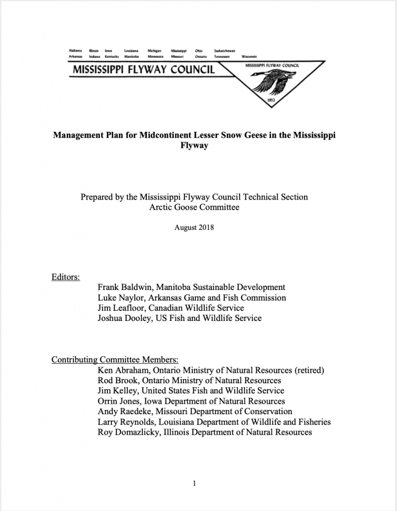 Midcontinent Lesser Snow Goose Management Plan in Mississippi Flyway